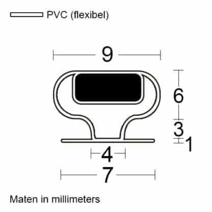 Magneetprofiel type insteek S maatvoering
