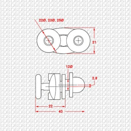 Douchedeur-ondergeleider-type-808-afmetingen