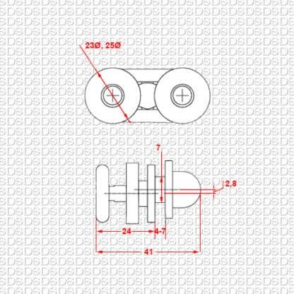 Douchedeur-ondergeleider-type-904-afmetingen