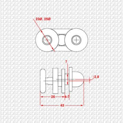 Douchedeur-ondergeleider-type-905-afmetingen