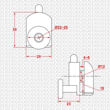Douchedeur ondergeleider type 1 voorkant afmetingen