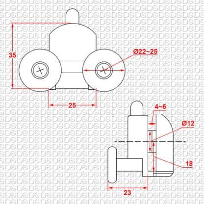 Douchedeur-ondergeleider-type-2-afmetingen